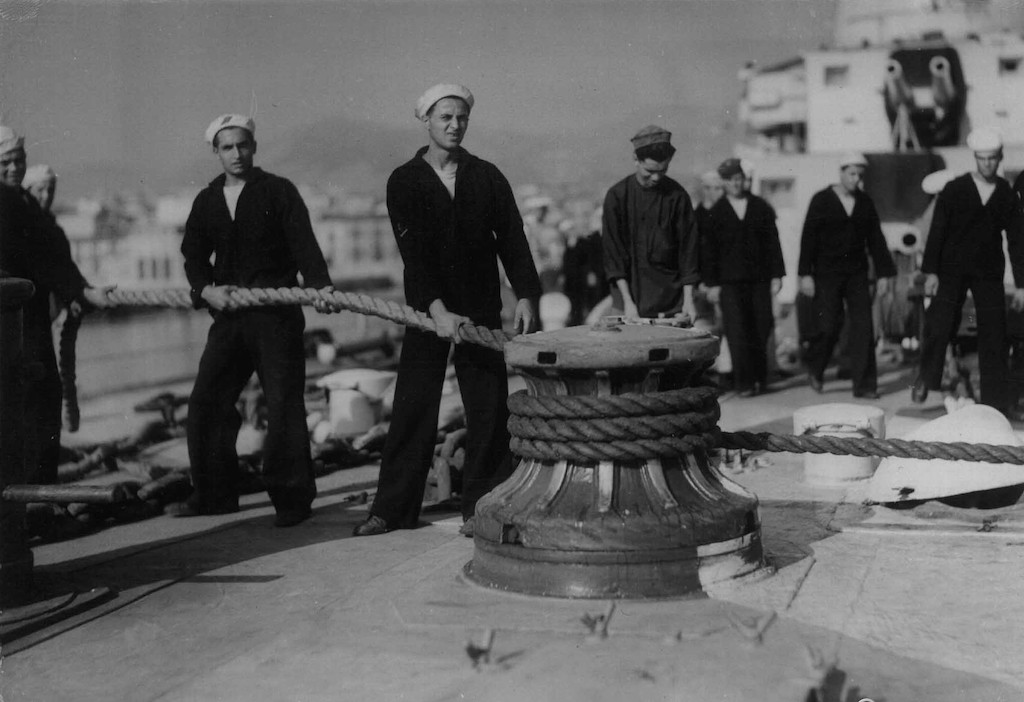 A photo taken 02 August 1940 of Regia Marina sailors.