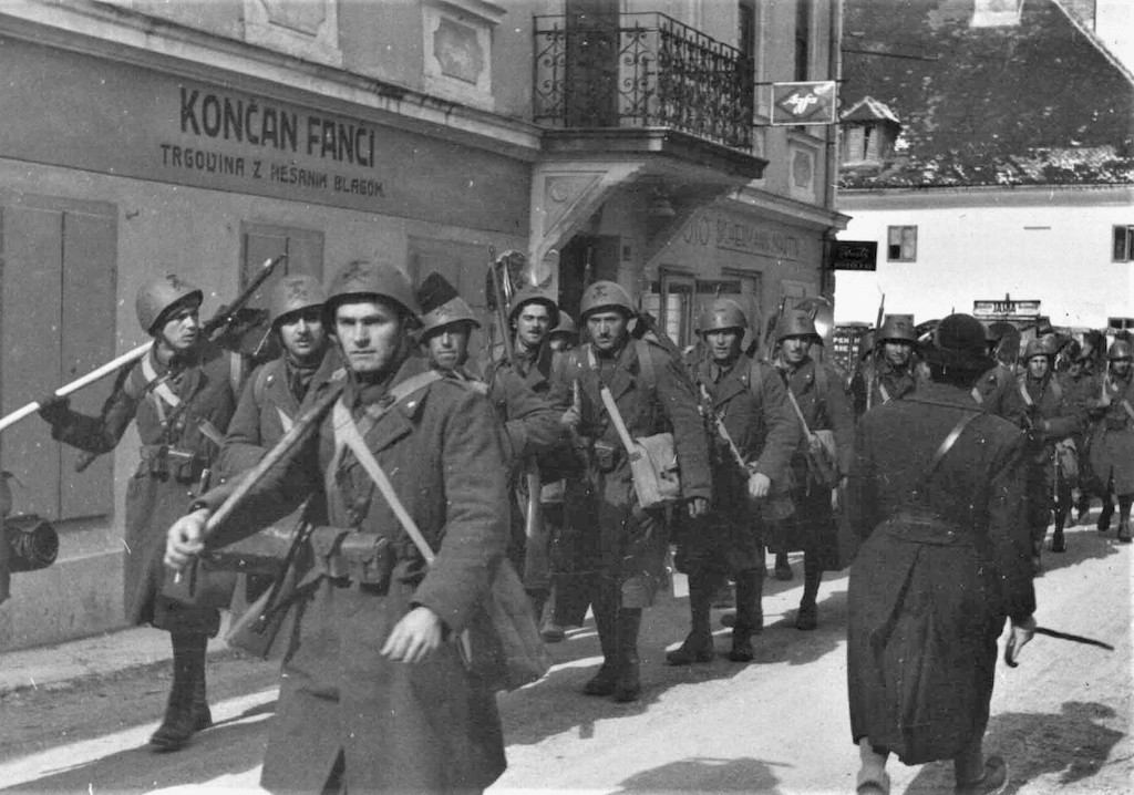 Italian black shirt battalion in the invasion of Yugoslavia.