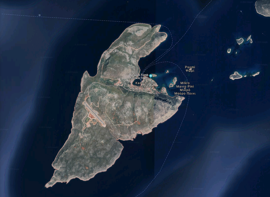 Google map view of Castellorizo.