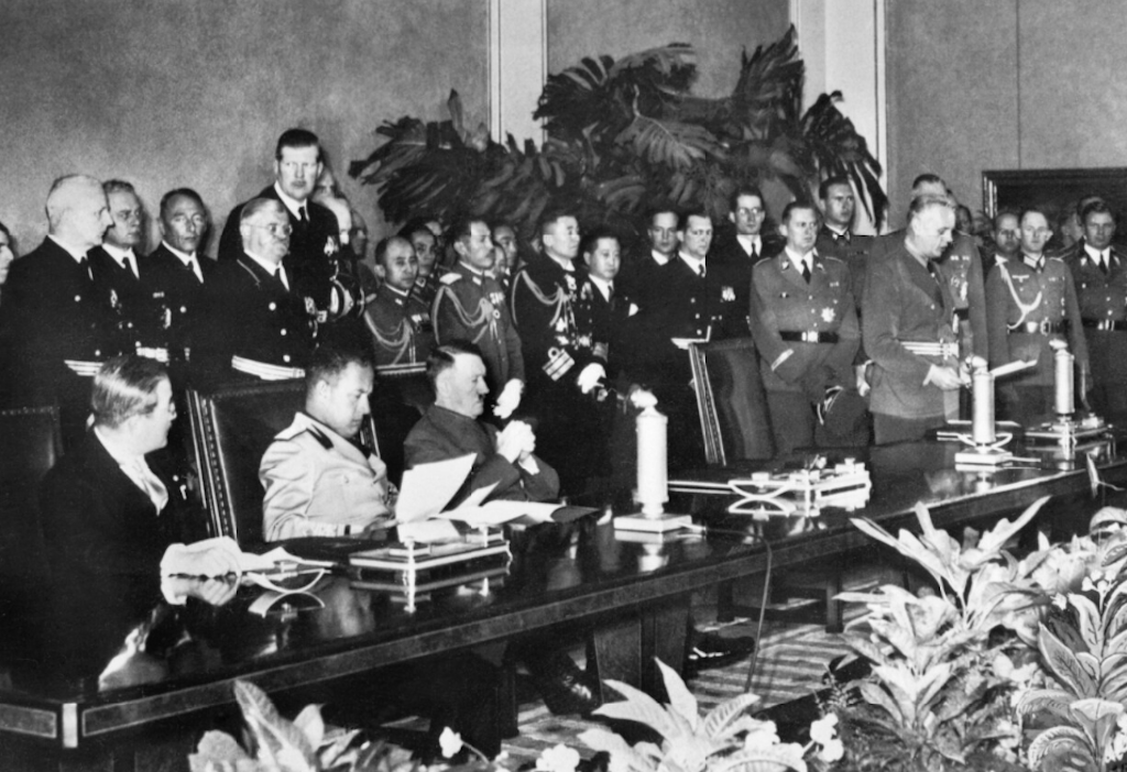 Signing ceremony of the Tripartite Pact.