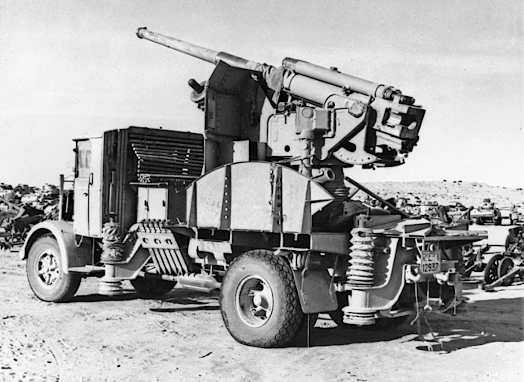 A February 1943 photo of a Cannone da 90/53 mounted on a Lancia truck in North Africa.