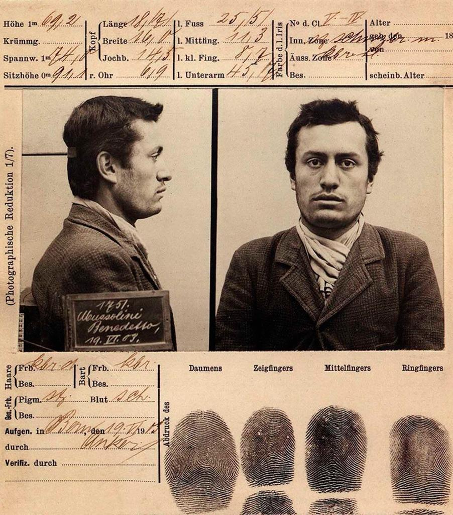 Mug shot of Benito Mussolini following his arrest in Bern, Switzerland on 19 June 1903.