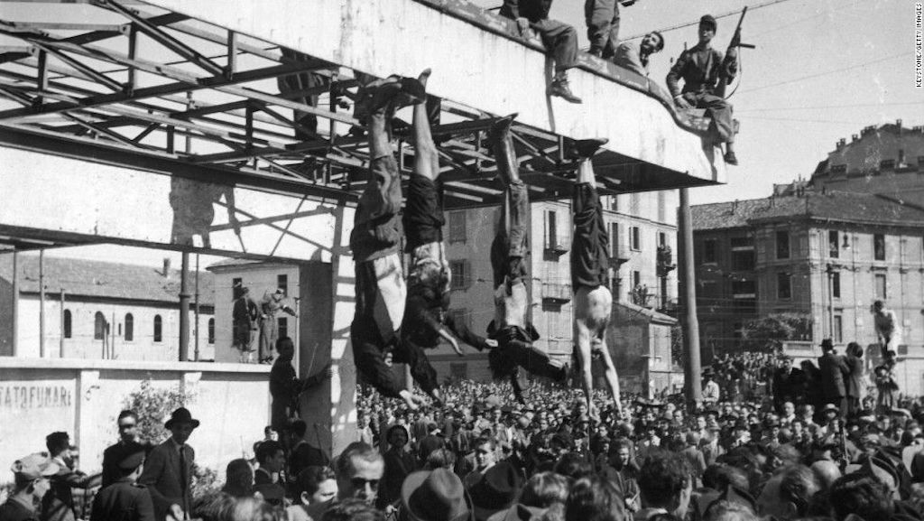 The bodies of Nicola Bombacci, Mussolini, Petacci, Pavolini and Starace hung in Piazzale Loreto, Milan 1945.
