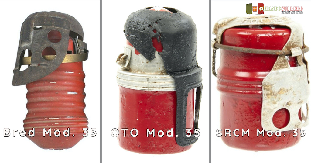 The three types of bomba a mano Red Devil hand grenades used by Italy in World War Two.