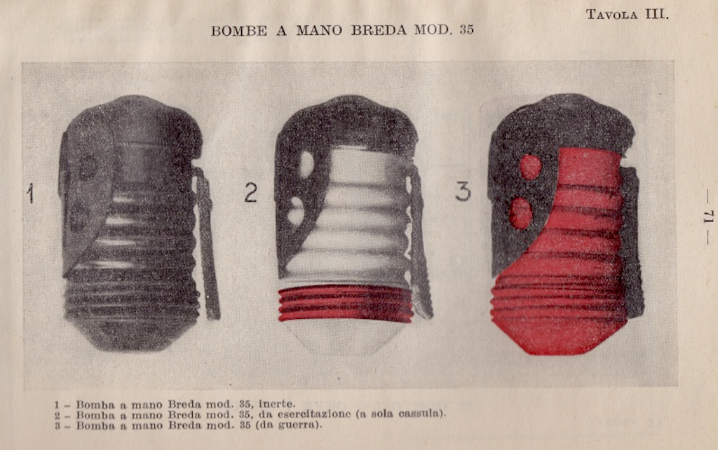 Color coded Breda Mod.35 hand grenade identifies its purpose.