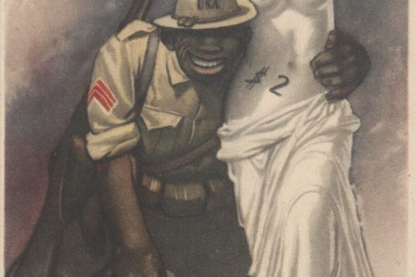 A racist propaganda poster by Gino Boccasile in 1944 showing an African-American solder selling the Venus de Milo for $2.00.