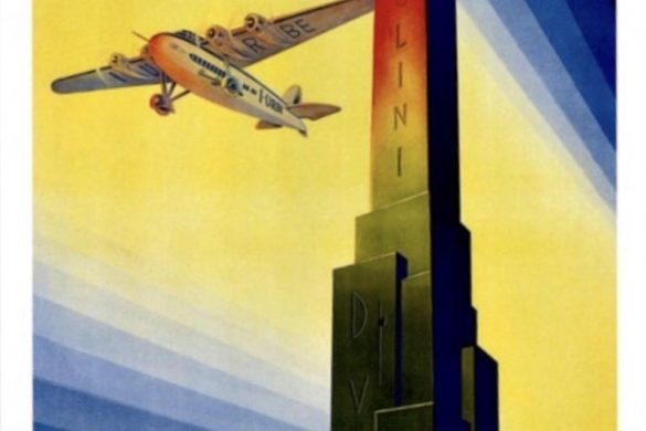 A 1935 Italian fascist poster showing a propeller plane flying next to an obelisk with an inscription reading Mussolini and DVX (Duce). Ala Littoria (AIr Littoria) was an Italian national airline.