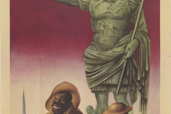 "A 1944 Gino Boccasile ww2 propaganda poster showing two soldiers leaning against a statue of Augustus. One soldier has a bayonet and an empty bottle of wine. The caption reads ""They will not prevail."""