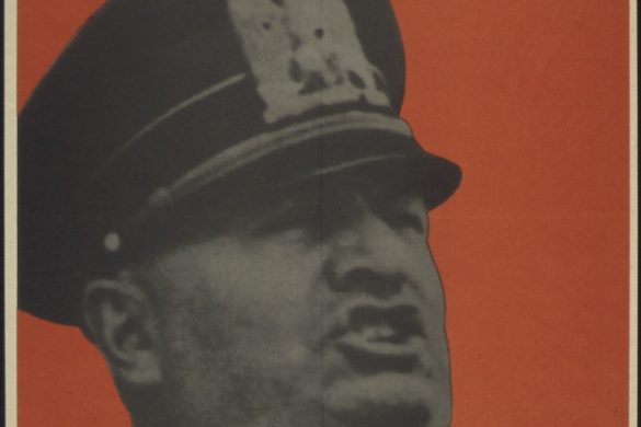 This is actually an American propaganda poster from the Office of War Information depicting Mussolini as a warmonger. This poster was published between 1941-1945.