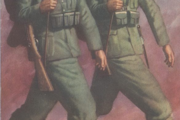 "A Gino Boccasile WW2 postcard published circa 1942. It shows a German and Italian soldier marching side by side. The caption ""Due Popoli, Una Vittoria"" means ""Two Nations, One Victory."" The German equivalent is written underneath."