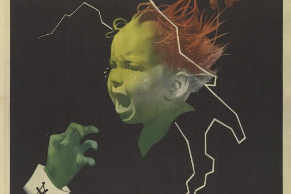 "A 1944 Repubblica Sociale Italiana (RSI) poster of a scared child with three hands clawing at him. The hands represent different threats based on the symbols on the sleeve. The caption reads ""Difendilo"" or ""Defend him!"" The purpose of this illustration is to convince the public that Italian children are in danger from Communists, Jews, and Freemasons."