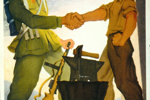 "An illustration by Dante Coscia. It shows an Italian soldier shaking hands with a Tradesman. The caption reads ""Lavorare e Combattere Per La Patria, Per La Vittoria"" which translates to ""Work and Combat, for the Fatherland and for Victory""."