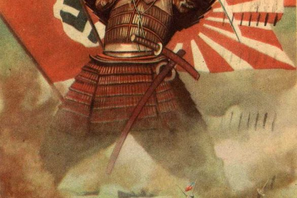A 1942 WW2 propaganda illustration by Gino Boccasile. It shows a Samurai chopping at a British and U.S. vessel. Behind the Samurai are the three flags of the main Axis powers. This illustration most likely commemorates the Japanese victory at Pearl Harbor and the sinking of the British Repulse and Prince of Wales on 10 December 1941.