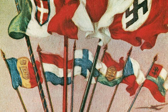 "This illustration was made sometime between 1939 and 1941. It shows the three flags of the main Axis powers (Italy, Japan, and Germany) reigning over six others. On the globe is written ""Vinceremo"" which translates to ""We Will Win."" Note the aircraft on the right side of the globe."