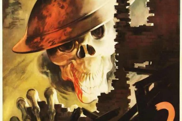 "Vostro Amico? is an Italian poster depicting a skull with a British helmet in a ruined Italian town. Translation reads ""Your friend?"" Note the blood coming from the mouth of the skull as if it is eating raw flesh."