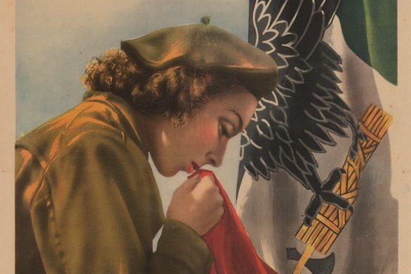 "A 1944 poster for the Repubblica Sociale Italiana (RSI). The poster shows a woman kissing the flag. Xa Flottiglia Mas Servizio Ausilario"" translates to Tenth Light Flottiglia Auxiliary Service"". Centri di Arruolamento means ""Centers for Enrollment""."