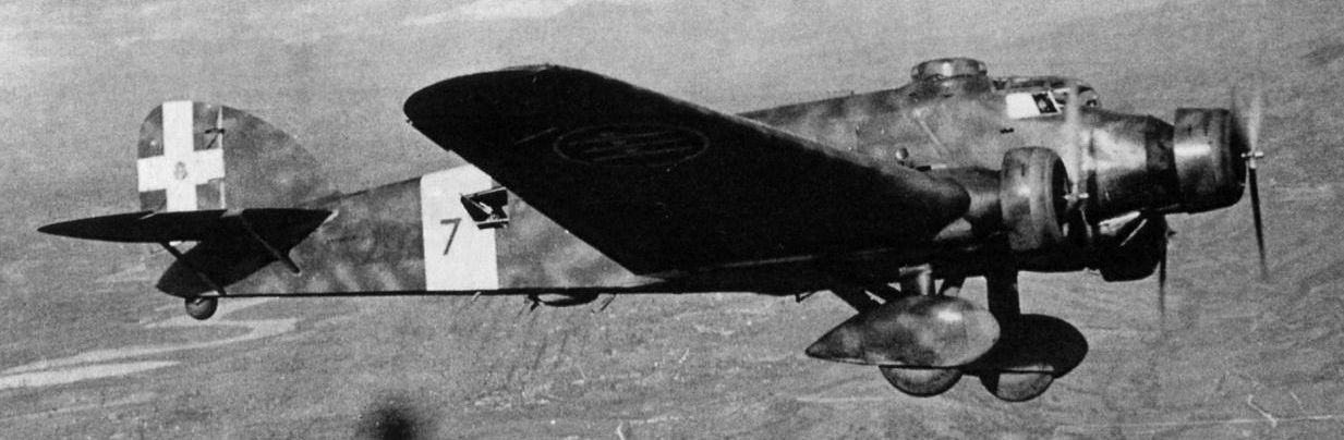 The Savoia-Marchetti SM.81 Pipistrello in flight.