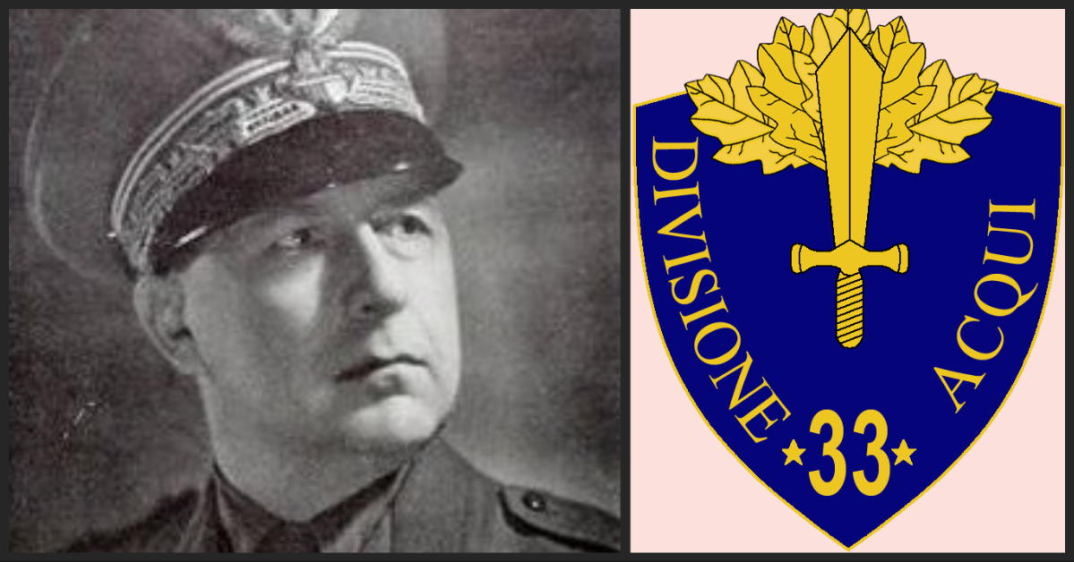 General Antonio Gandin (L) and the 33rd Infantry Division Acqui insignia (R).
