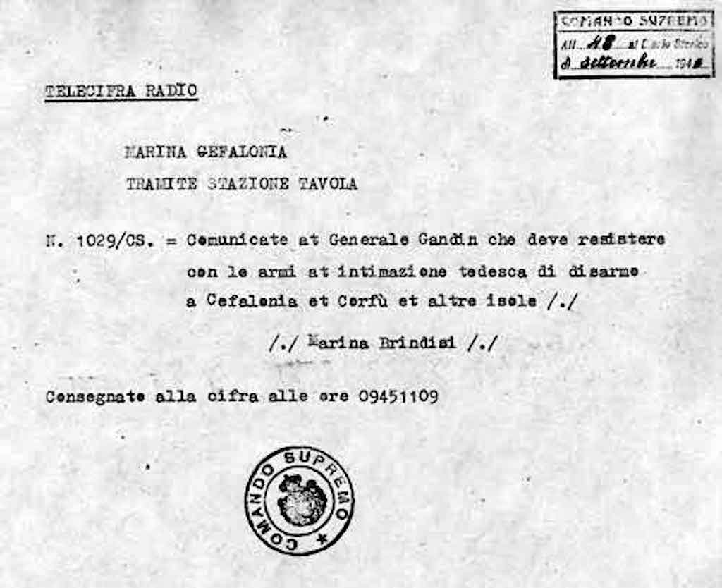 Notification by Comando Supremo authorizing Acqui Division the use in defense against German attack.