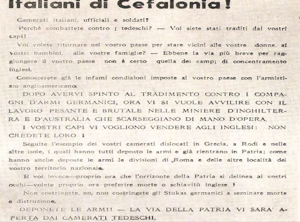 Leaflets written in Italian to persuade Italian forces to drop their weapons.