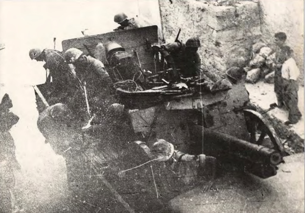 Italian artillery fire against German forces on Cephalonia.