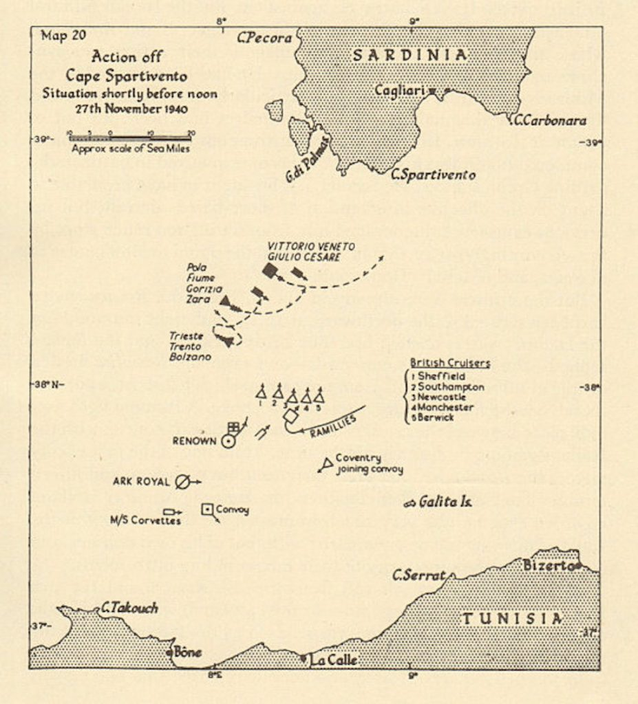 Battle of Cape Spartivento Map.