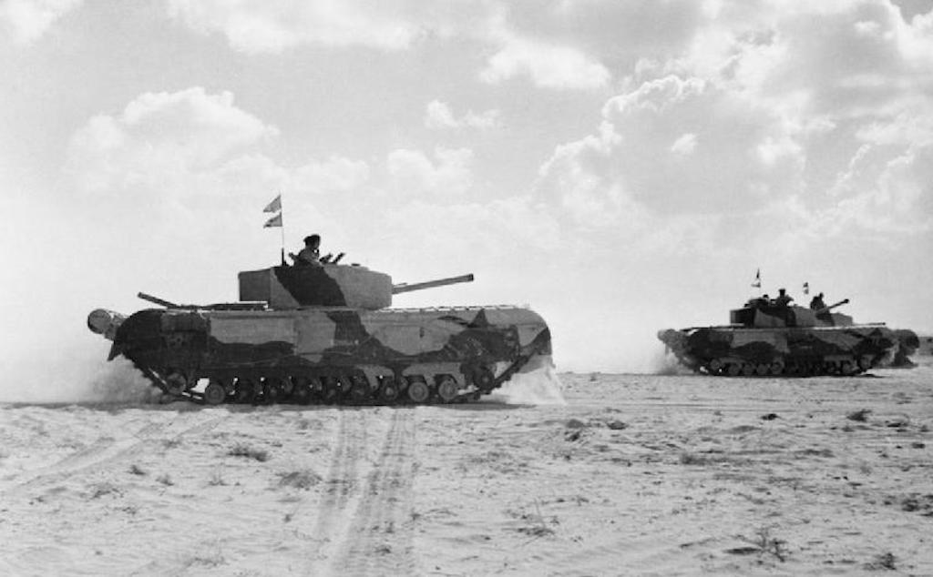 Churchill III tanks of the 1st Armored Division on 5 November 1942. I