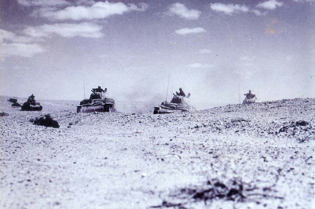 Italian tanks preparing to engage Allied forces in North Africa.