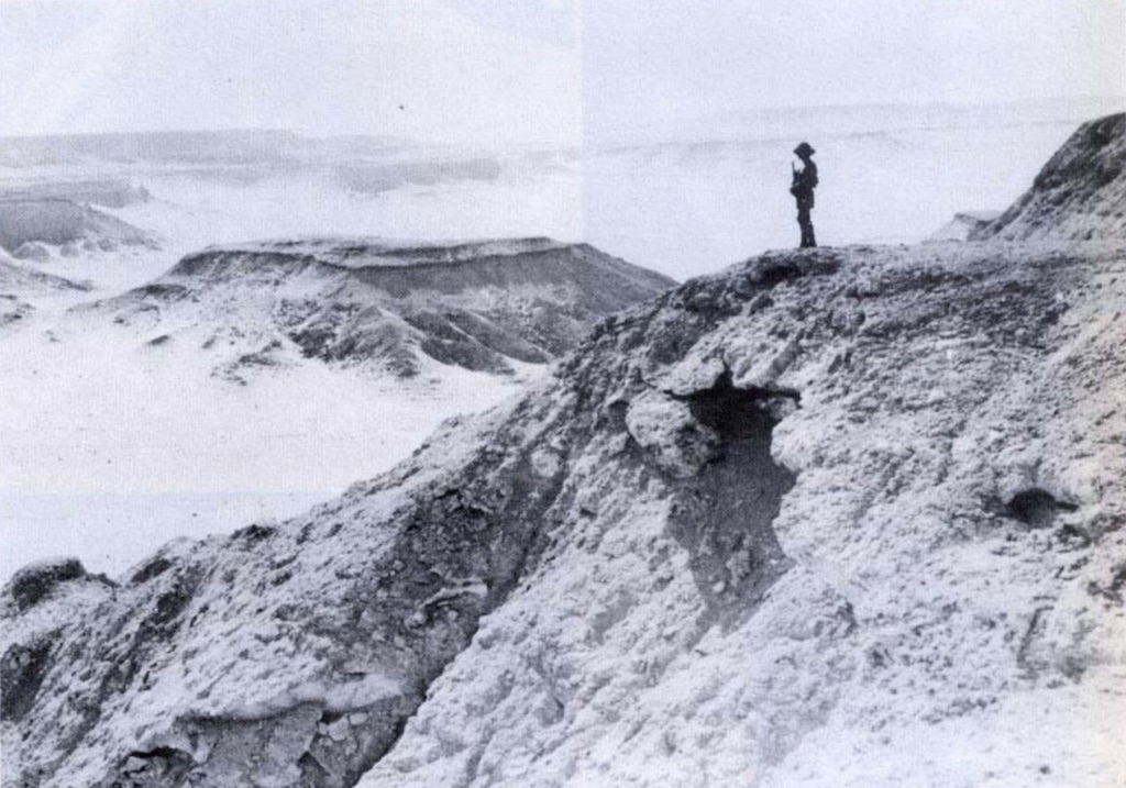A lone Italian soldier stands guard at the Qattara Depression.
