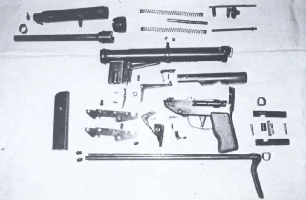 The weapon broken down in its individual parts.