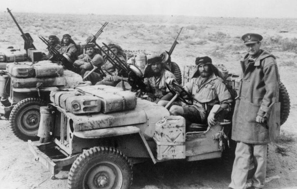 LRDGE and SAS Jeep Patrol. On the right is David Stirling, founder of the SAS.