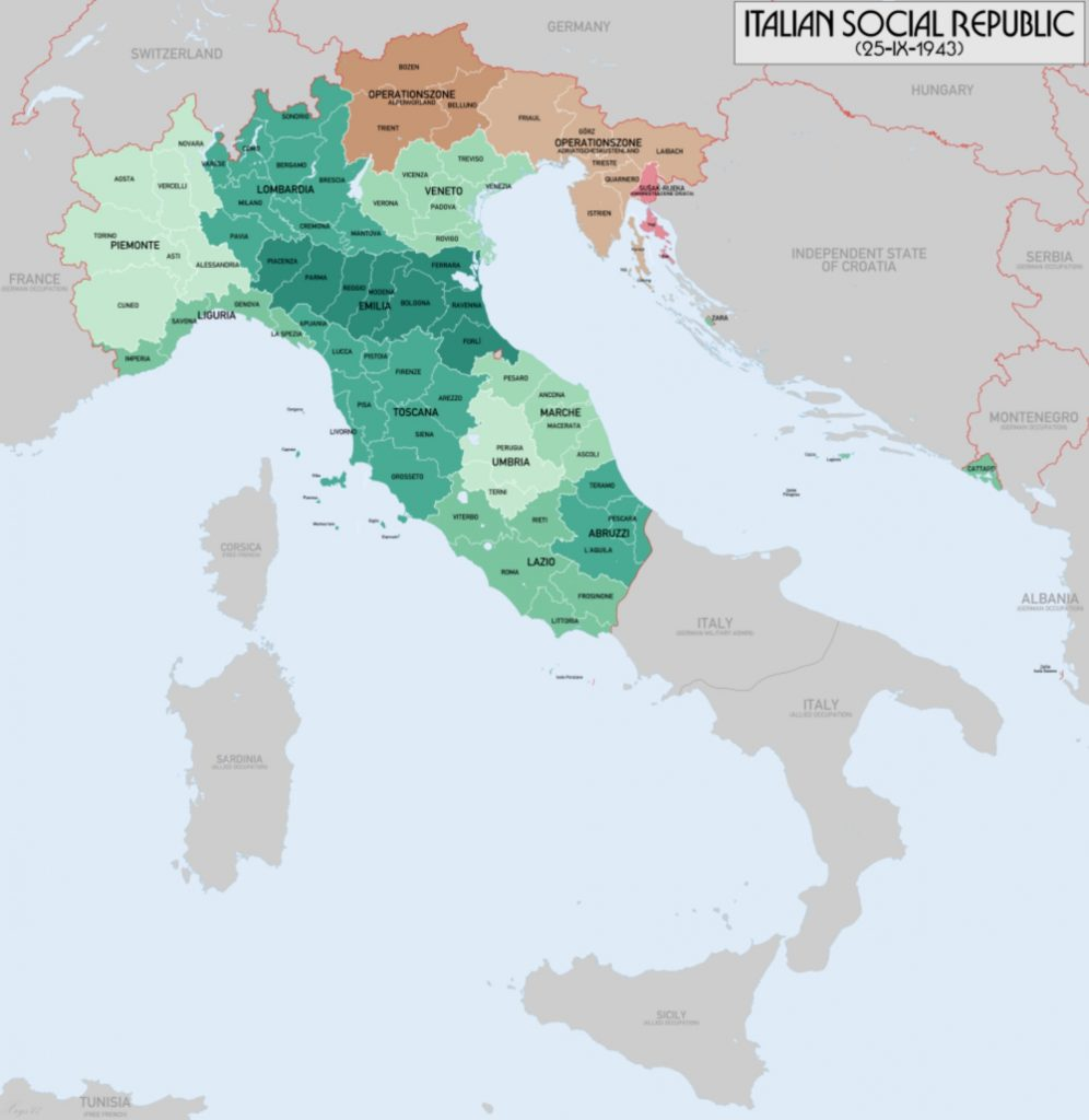 The administrative map of the Italian Social Republic as of 25 September 1943.