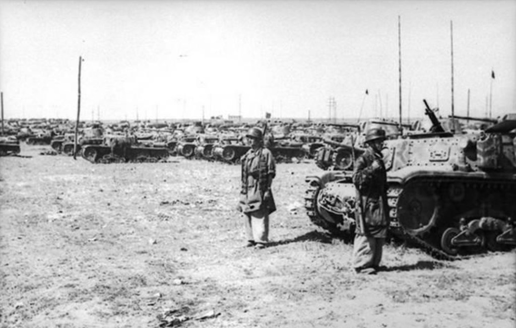 German troops inspecting an Italian tank depot in September 1943.