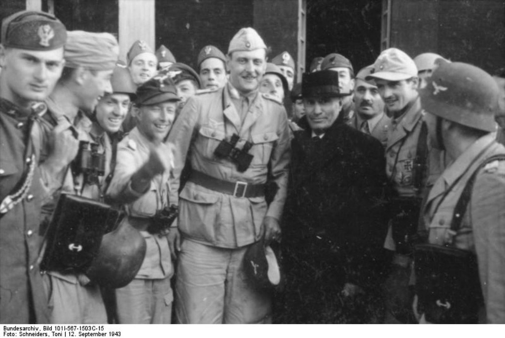Benito Mussolini with Otto Skorzeny after his rescue from the Campo Imperatore Hotel, 12 September, 1943.