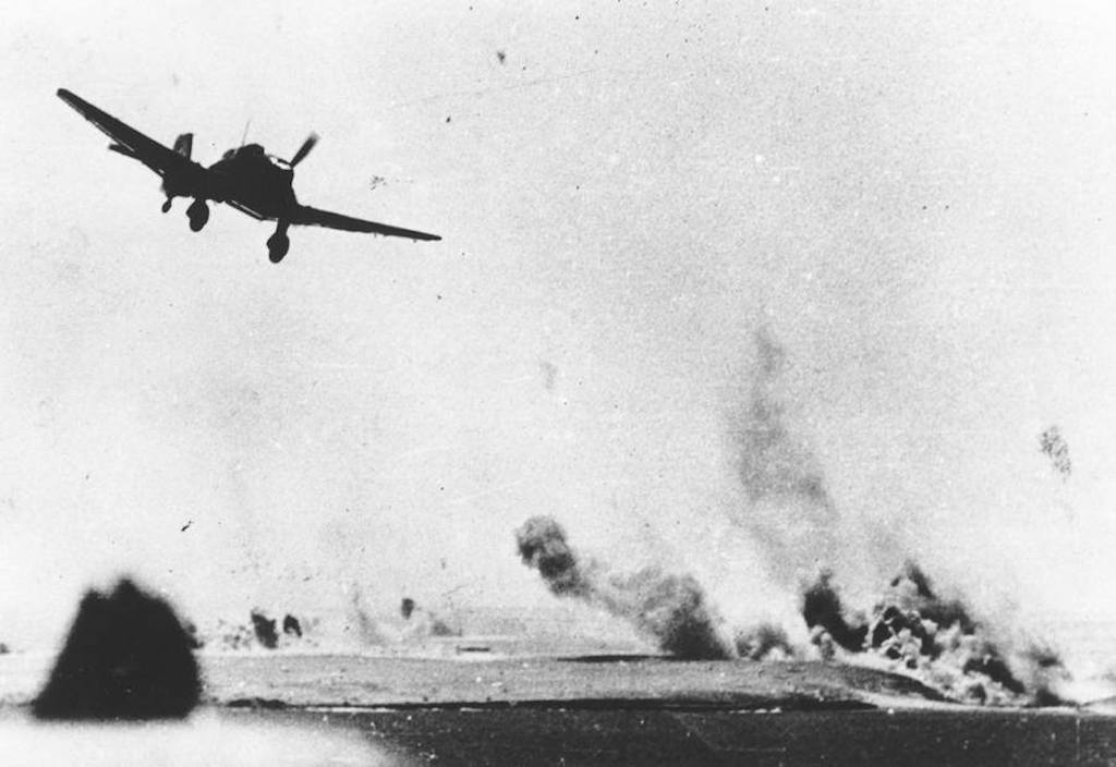 A low-level attack by a Luftwaffe Stuka dive bomber at Tobruk, Libya in 1941.