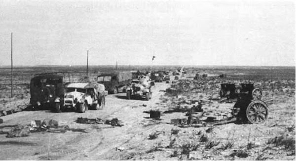 Destroyed Italian vehicles at Beda Fomm