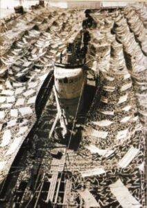 Submarine Calvi protected by mimetic nets in Betasom in 1941